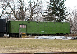 Former PM wreck train support car #361 at Owosso, MI