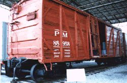 PM wooden auto boxcar #88958 on display at the B&O Museum