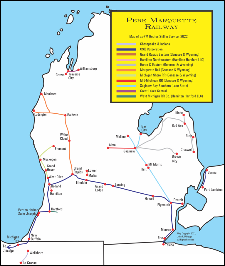 Map of former PM lines in use as of 2006